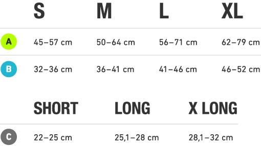 Deze afbeelding geeft de maattabel van de compression sleeves weer